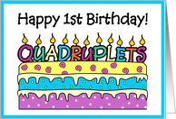 Happy 1st Birthday Quadruplets card