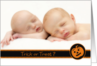Trick or Treat? - Baby Announcement card