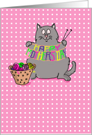 happy mother's day - cute cat knitting - humor card