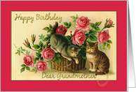 Happy Birthday Grandmother Cats in basket with roses card