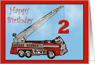 Happy Second Birthday firetruck card