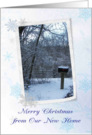 Merry Christmas New Home Down the Road with Mailbox card