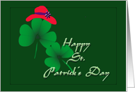 St. Patrick's Red hat Shamrock card