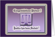 Law Partner Justice Congratulations card