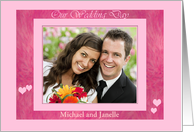 Our Wedding Day brushed frame photo card