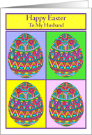 Happy Easter to My Husband Egg Quartet card