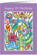 Happy 13th Birthday Garden Bouquet card
