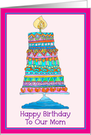 Happy Birthday to Our Mom Party Cake card