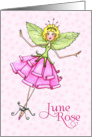 Paper Rose Fairy in June Birthday Card