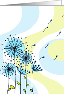 Retro Blowing Dandilions Thinking Of You Card