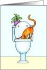 Cat With Head in Toilet Encouragement Card