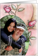 Romantic Roses Photo Insert Engagement Announcement Card