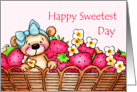 Sweetest Day Teddy Bear In A Basket Of Strawberries card