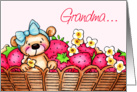 Mother's Day To Grandma, Teddy Bear In A Basket Of Strawberries card