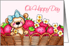 Oh Happy Day, Teddy Bear In A Basket Of Strawberries card