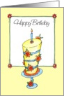 Happy Birthday - Whimsical Daisy Cake card