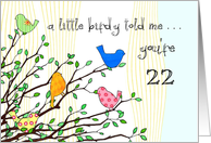 Happy Birthday - A birdy Told Me you're 22 card