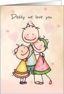 Happy Father's Day for father - Cute Stick Figures card