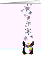 Penguin Catching Snowflakes Card