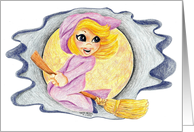 Halloween OR Friendly Good Witch Flying on Broomstick Broom card