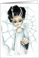 Halloween Creepy Bride Pointing Finger Monster Lady Woman card