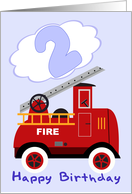 Happy 2nd Birthday Fire Engine card