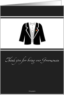 Thank you for being our Groomsman - groomsman suit card