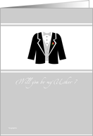 Will you be my Usher? - elegant tux card