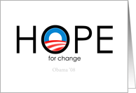 Hope for change - Obama 2008 card