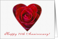 Ruby rose heart - Happy 70th Anniversary card