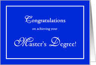 Blue and white masters graduation congratulations card