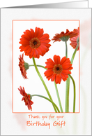 Thank you for your birthday gift - orange gerbera daisies card