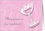 pink swirls - pre-wedding cocktails card