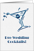 blue metallic - pre-wedding cocktails card