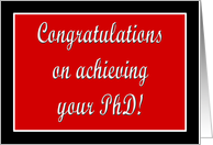 Red and black PhD graduation congratulations script card