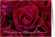 red rose - will you be my matron of honour invitation card