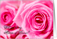 Pink roses - matron of honour invitation card