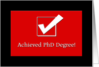PhD congratulation - big tick card