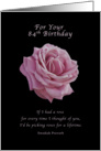 Birthday, 84th, Pink Rose on Black card
