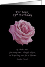 Birthday, 75th, Pink Rose on Black card