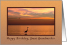Birthday, Great Grandmother, Ocean Sunset with Birds card