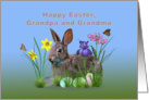 Easter, Grandparents, Bunny, Eggs, and Spring Flowers card
