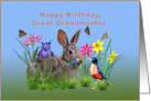 Birthday, Great Grandmother, Bunny Rabbit, Robin, and Flowers card