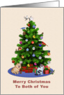 For Couple, Merry Christmas Tree, Dog, Cat, Birds card