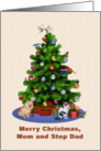 Mom and Step Dad, Merry Christmas Tree, Dog, Cat, Birds card