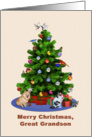 Great Grandson, Merry Christmas Tree, Dog, Cat, Birds card