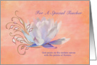 Birthday, Teacher, Water Lily, Religious card