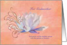 Birthday, Godmother, Water Lily, Religious card