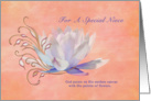 Birthday, Niece, Water Lily, Religious card