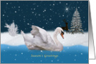 Christmas, Season's Greetings, Snowy Night with A Swan on a Lake card